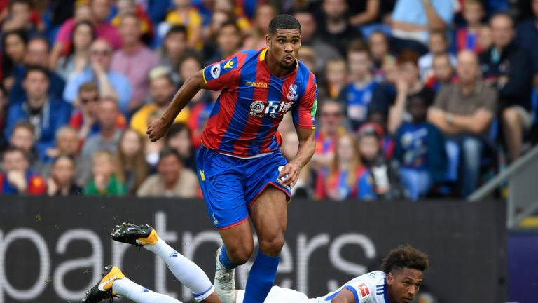 LONDON, ENGLAND - AUGUST 05:  Ruben Loftus-Cheek of Crystal Palace gets past Thino Kehrer of Schalke during a Pre Season Friendly between Crystal Palace an