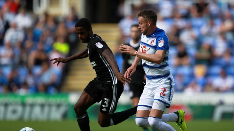 READING, ENGLAND - AUGUST 12: Chris Gunter of Reading and Ryan Sessegnon of Fulham in action during the Sky Bet Championship match between Reading and Fulh