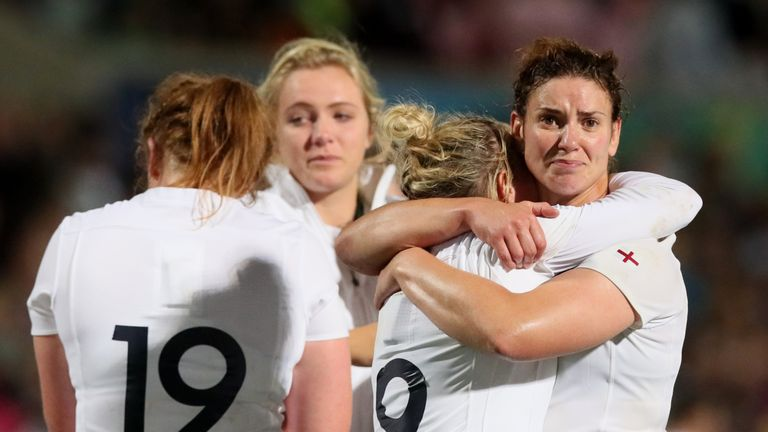 Sarah Hunter (right) reacts to defeat in the World Cup final