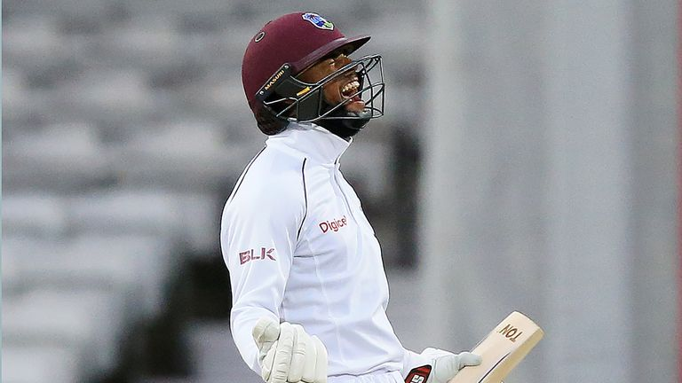 Shai Hope roars with delight after sealing Windies' first Test win in England in 17 years