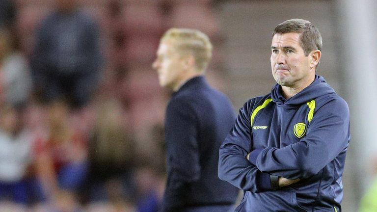 Nigel Clough stands dejected during the Sky Bet Championship match at the Riverside Stadium