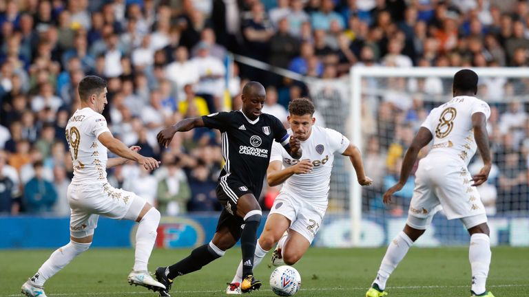 Fulham's Sone Aluko runs at the Leeds defence during the Sky Bet Championship match at Elland Road