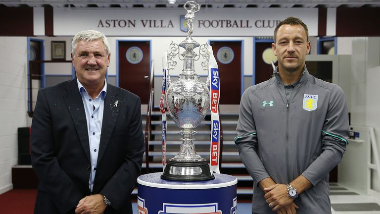 Aston Villa manager Steve Bruce and John Terry at the Sky Bet EFL season launch