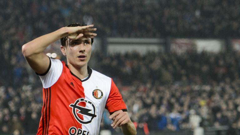 Feyenoord's Steven Berghuis celebrates after scoring against AZ Alkmaar