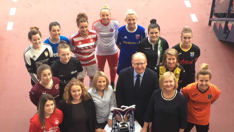 Players from SWPL clubs plus representatives from Scottish Women's Football and the Scottish Building Society promote Thursday's sponsorship announcement.