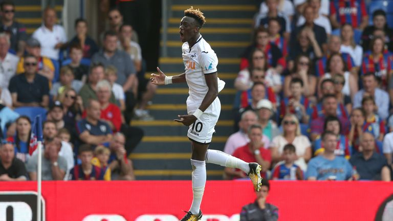 Tammy Abraham celebrates his first Premier League goal