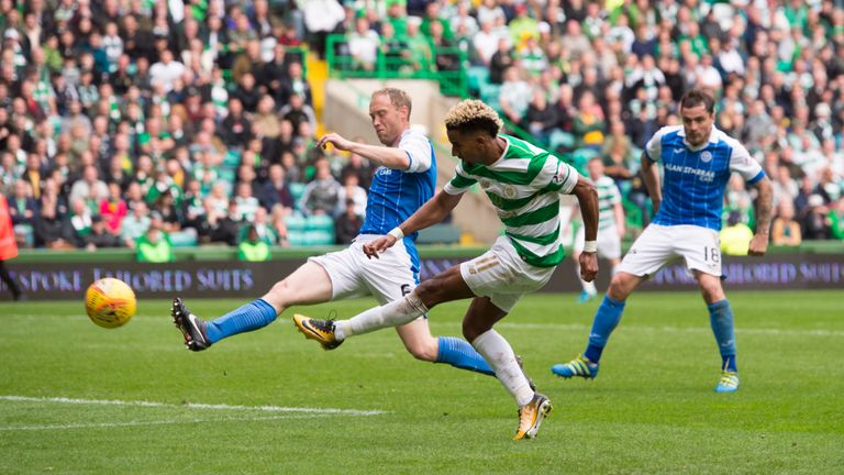 Scott Sinclair saw this late effort hit the crossbar