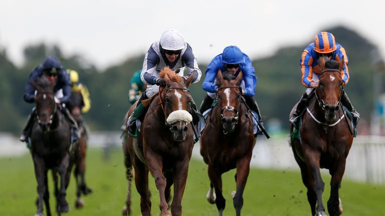 Ulysses (C, white cap) wins the Juddmonte International Stakes from Churchill (R)