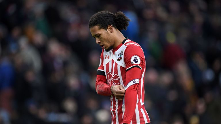 Southampton's Dutch defender Virgil van Dijk walks from the pitch at half time in the English Premier League football match between Burnley and Southampton