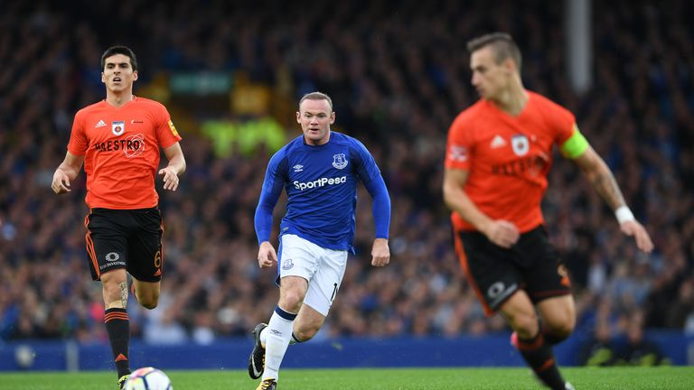 Wayne Rooney in action during the UEFA Europa League third qualifying round match against MFK Ruzomberok