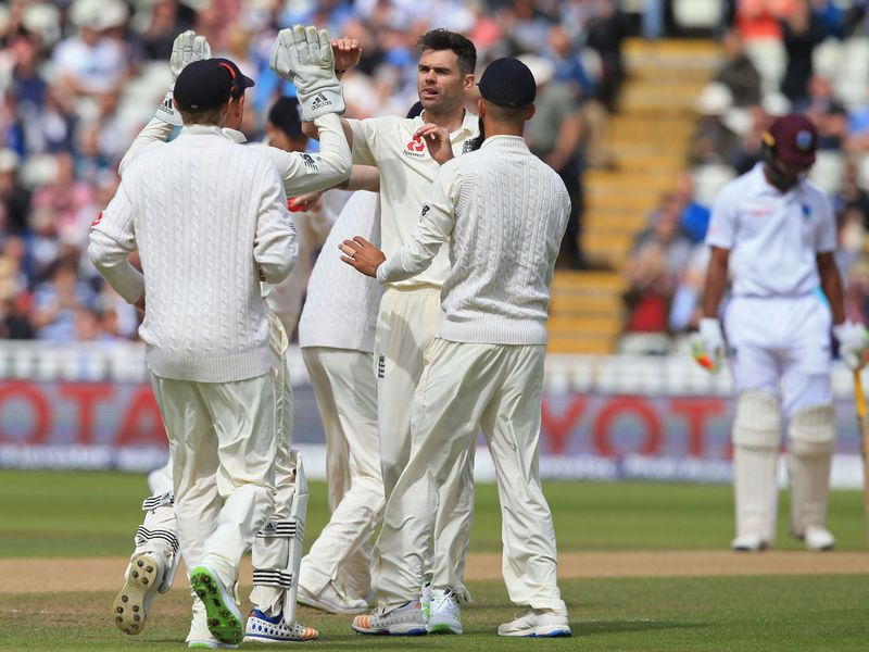 On day three the wickets tumbled, with James Anderson celebrating the dismissal of Kyle Hope