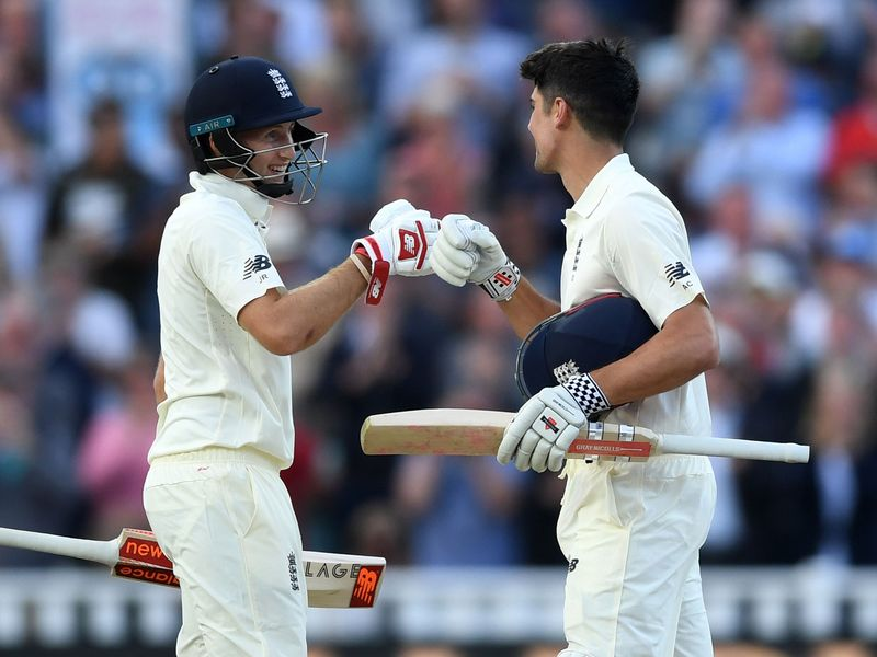Joe Root and Alastair Cook added 248 for England's third wicket on day one