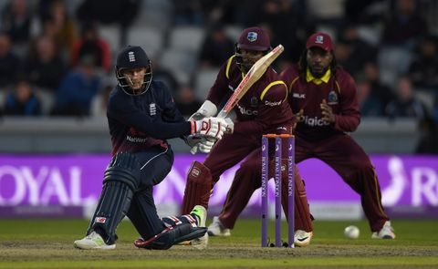 Joe Root of England in action against the West Indies