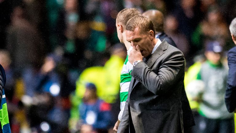 Rodgers shows his disappointment on the Celtic Park touchline against PSG