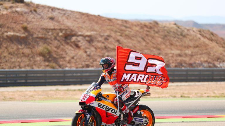 Marc Marquez celebrates victory on Sunday