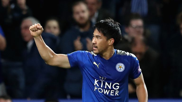 Shinji Okazaki of Leicester City celebrates scoring his side's first goal during the Carabao Cup Third Round match v Liverpool