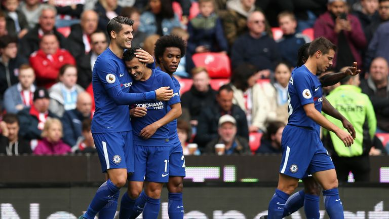 Morata congratulates Pedro after he doubles Chelsea's tally at Stoke