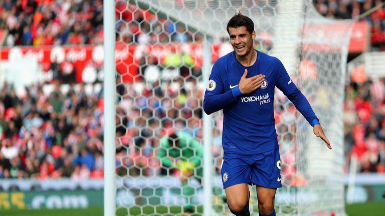 Alvaro Morata scored his first Chelsea hat-trick at Stoke