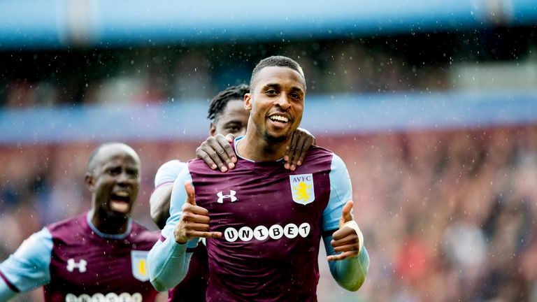 Jonathan Kodjia scores from the penalty spot to give Aston Villa the lead at Villa Park
