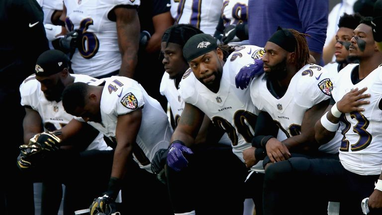 Baltimore Ravens players knelt for the national anthem ahead of their fixture against Jacksonville Jaguars at Wembley