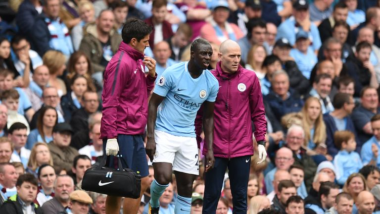 Benjamin Mendy was substituted after just 29 minutes against Crystal Palace