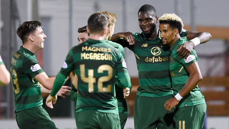 Odsonne Edouard (2nd right) celebrates after scoring the fourth goal on his debut