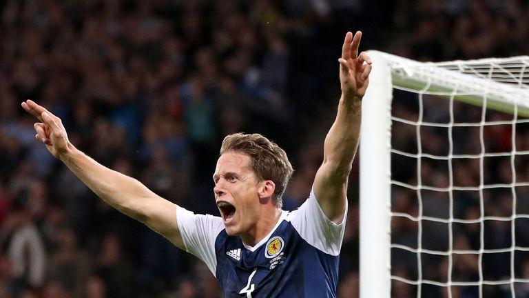 Christophe Berra of Scotland celebrates as he scores against Malta
