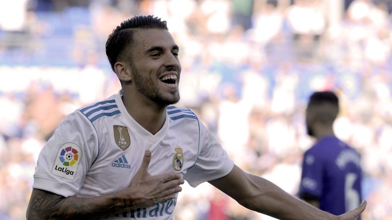 Real Madrid's Daniel Ceballos celebrates after scoring his team's second goal