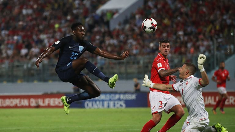 Danny Welbeck scored  one of two injury-time England goals in Malta