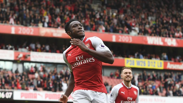 Danny Welbeck of Arsenal during the Premier League match between Arsenal and AFC Bournemouth at Emirates Stadium on September 9, 2017 in London, England.