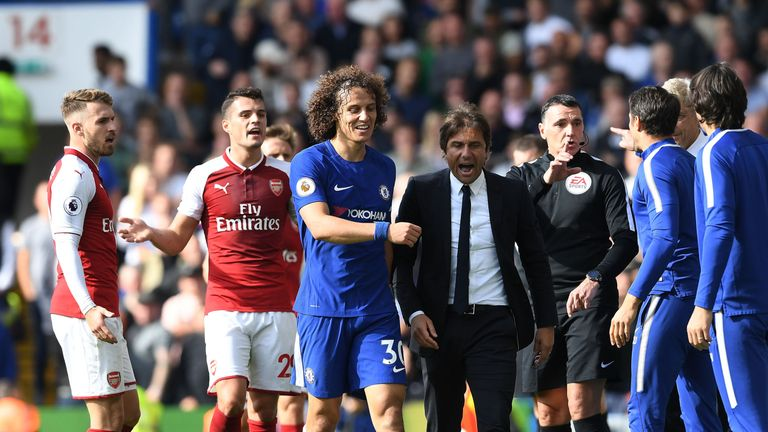 LONDON, ENGLAND - SEPTEMBER 17: of Arsenal during the Premier League match between Chelsea and Arsenal at Stamford Bridge on September 17, 2017
