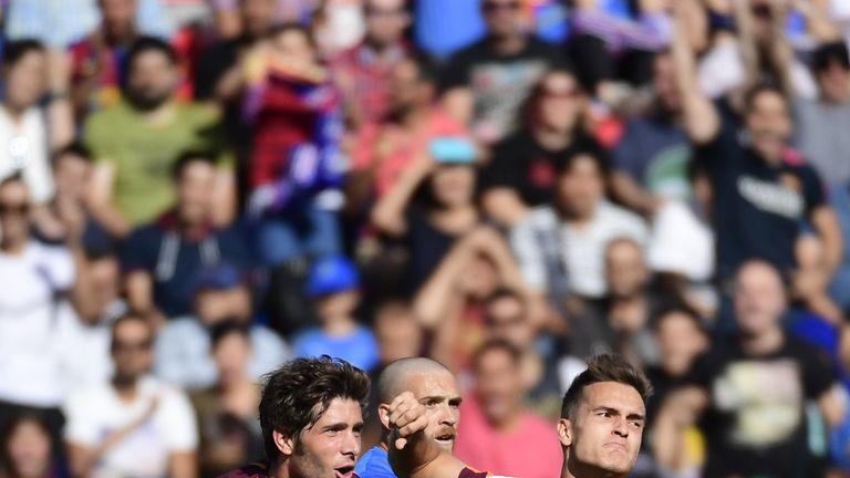 Denis Suarez, Sergi Roberto, goal celeb, Getafe v Barcelona, La Liga