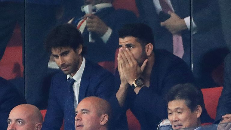 Diego Costa watches Atletico Madrid lose 2-1 at home to former club Chelsea in the Champions League Group C match on Wednesday night