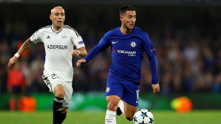 Eden Hazard of Chelsea gets away from Oliveira Richard of Qarabag FK during the UEFA Champions League Group C match