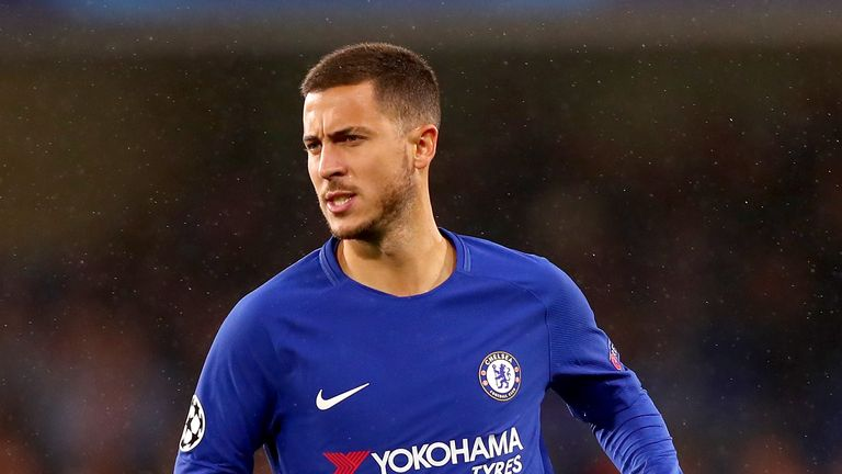 Eden Hazard of Chelsea in action during the UEFA Champions League Group C match between Chelsea FC and Qarabag FK at Stamford Bridge