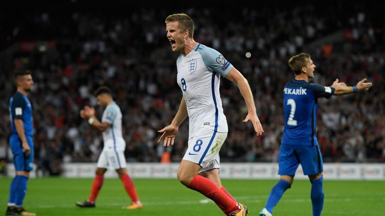Eric Dier of England celebrates as he scores their first goal during the FIFA 2018 World Cup Qualifier between England and Slovakia