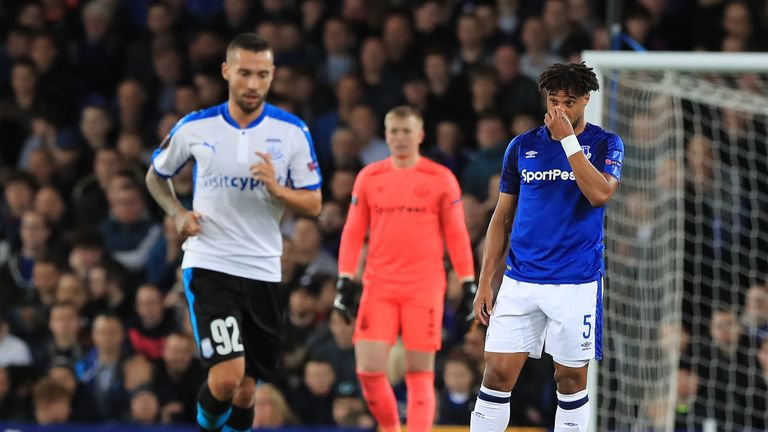Everton's Ashley Williams looks dejected after conceding