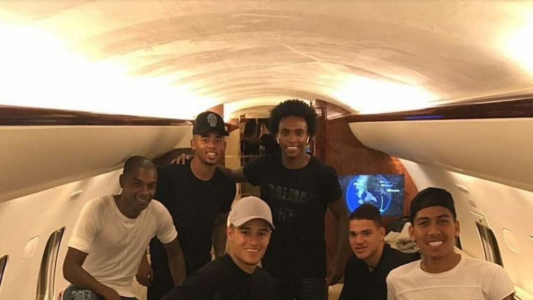(L-R) Fernandinho, Gabriel Jesus, Philippe Coutinho, Willian, Ederson and Roberto Firmino on jet ahead of trip back to England (Fernandinho/Instagram)