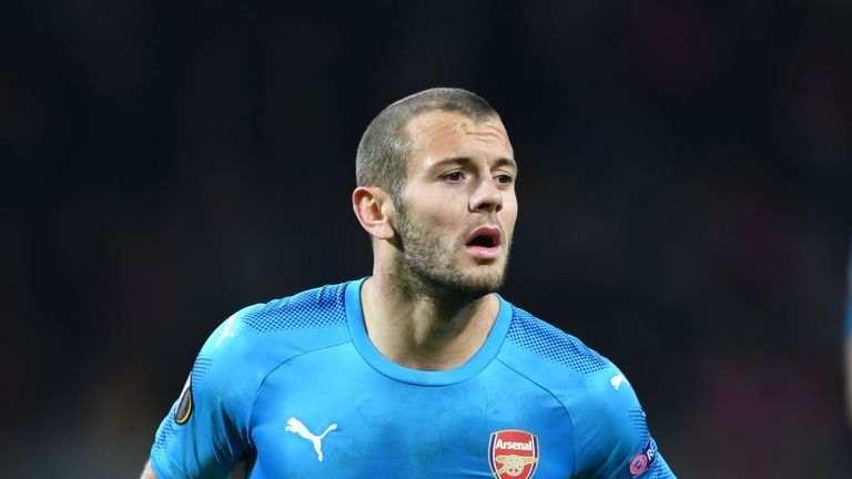 Jack Wilshere of Arsenal in action against BATE Borisov in the Europa League