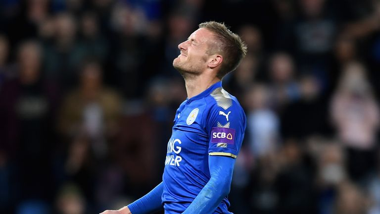 Jamie Vardy reacts to his penalty being saved against Liverpool