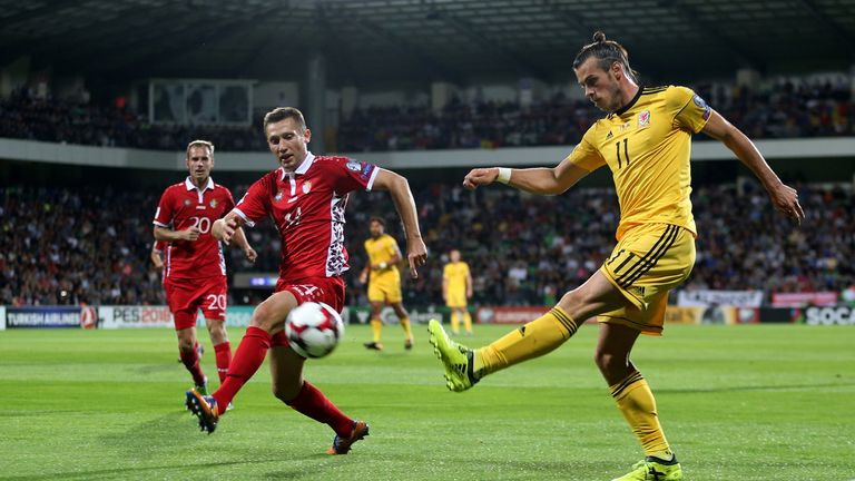 Wales' Gareth Bale takes a shot against Moldova