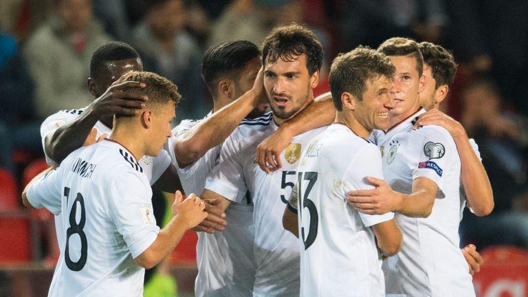 Germany defender Mats Hummels celebrates the winner.
