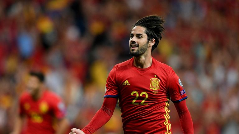 Spain's midfielder Isco celebrates after scoring the opening goal against Italy