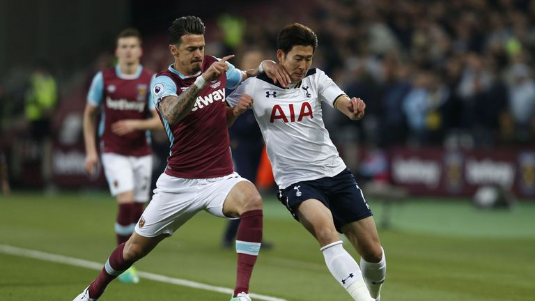 West Ham United defender Jose Fonte vies with Tottenham Hotspur's South Korean striker Son Heung-Min (R)
