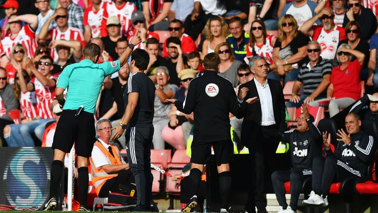 SOUTHAMPTON, ENGLAND - SEPTEMBER 23:  Jose Mourinho, Manager of Manchester United gets sent to the stands by referee Craig Pawson during the Premier League