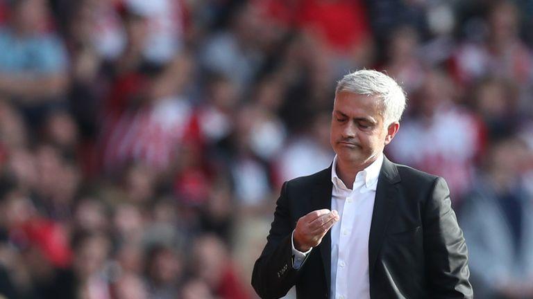 Manchester United manager Jose Mourinho was sent off at Southampton