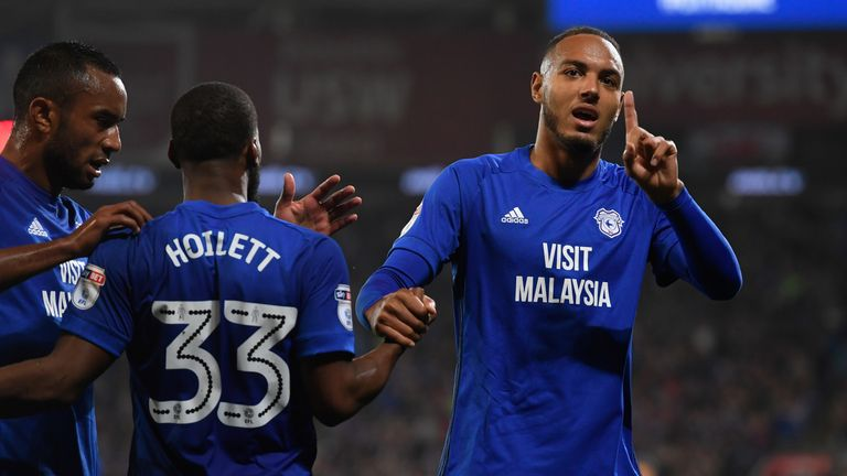 CARDIFF, WALES - SEPTEMBER 26:  Cardiff player Kenneth Zahore celebrates after scoring the opening goal during the Sky Bet Championship match between Cardi
