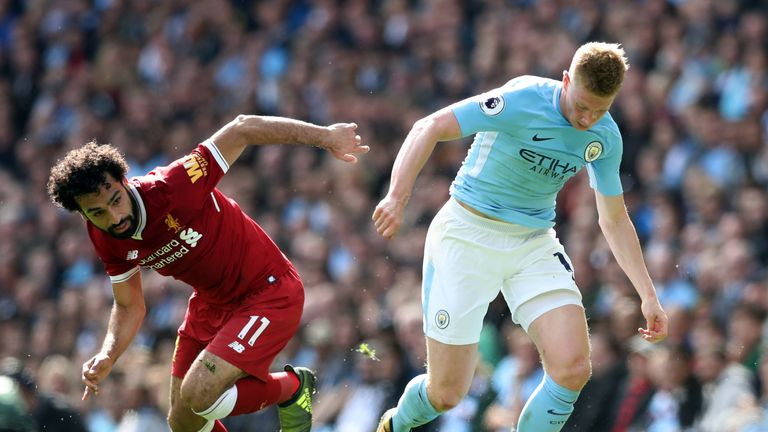Liverpool's Mohamed Salah (left) and Manchester City's Kevin De Bruyne battle for the ball during the Premier League match at the Etihad Stadium, Mancheste