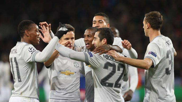 Manchester United players celebrate during their 4-1 win over CSKA Moscow