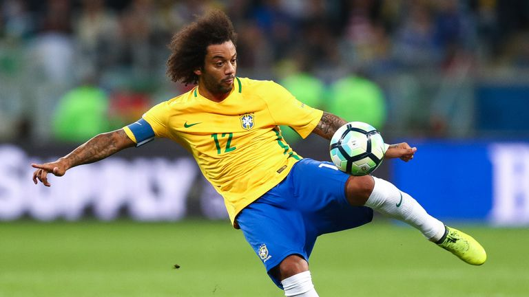 Marcelo in Brazil action during a World Cup qualifier for Russia 2018